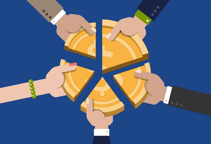 Business professionals sharing a currency pie
