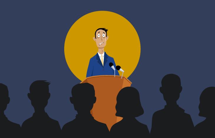Man nervous from public speaking