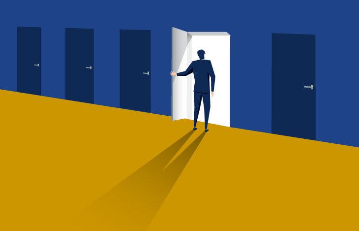 Man choosing a door of opportunity to entrepreneurship