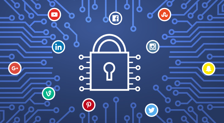 graphic of a lock to different social media platforms representing social media security